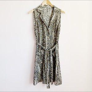 """linen """"python"""" print sleeveless belted shirt dress"""